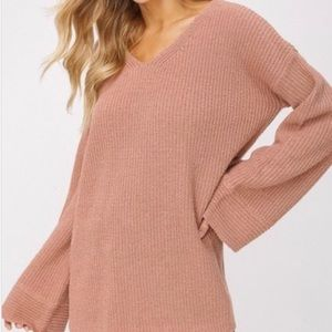 Listicle V Neck Bell Sleeve Pullover
